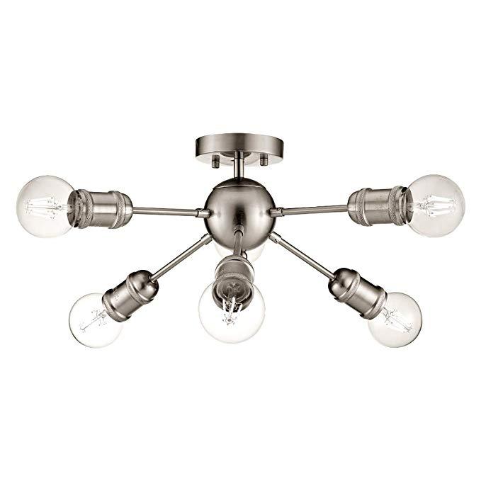 Sputnik Chandelier Vintage 6-Light Semi Flush Mount Ceiling Light Brushed Nickel Industrial Pendant Light for Kitchen Island Living Room Bedroom Foyer Hallway UL Listed by MELUCEE