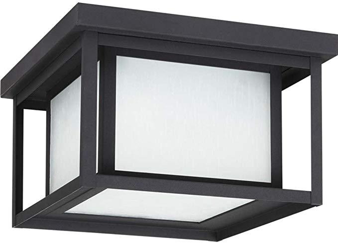 Sea Gull Lighting 79039-12 Hunnington Outdoor Fixture, Two, Black Finish