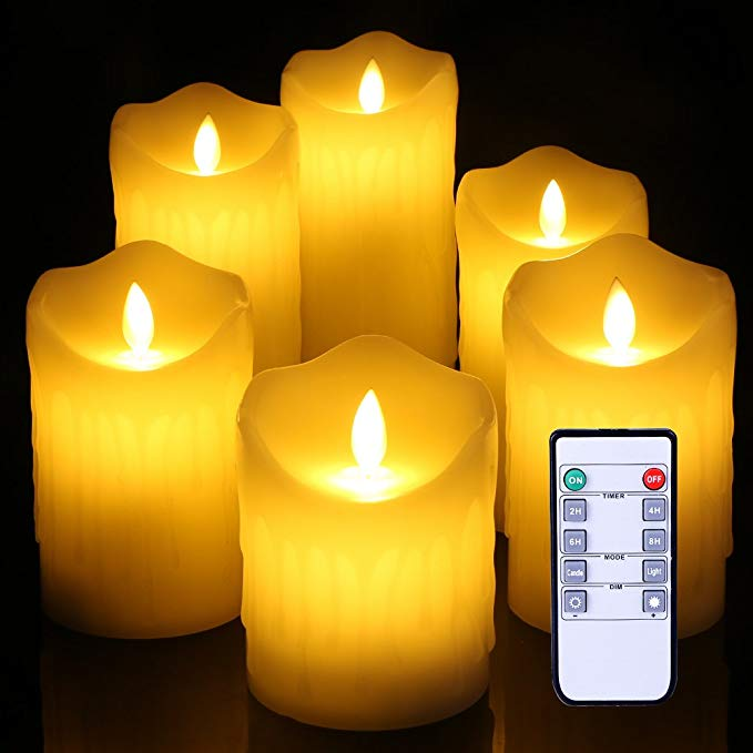 Flameless Candles Ivory Dripless Real Wax Pillars Include Realistic Dancing Flickering drippling wedding candle LED Flames and 10-key Remote Control 4