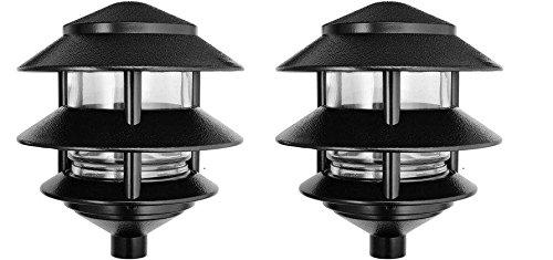 RAB Lighting LL322B Incandescent 3 Tier Lawn Light, A-19 Type, 75W Power, 1220 Lumens, 120VAC, Black (Pack of 2)