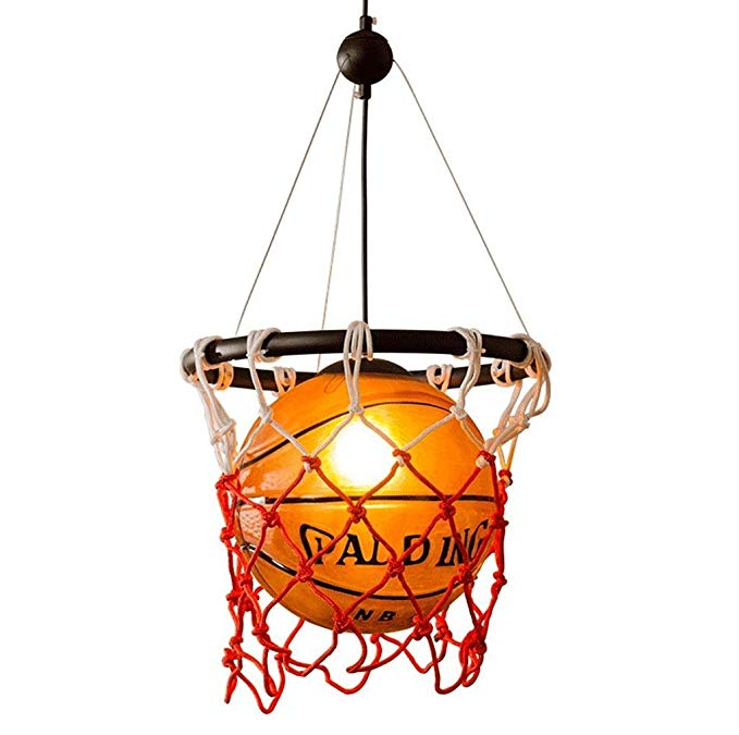 MILUCE Ceiling Chandelier, Personalized Glass Basketball Lighting Creative Children Bedroom Room Decoration Lights E27 Light Source
