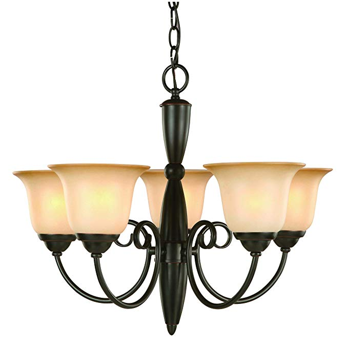 Hardware House Essex Series 5 Light Oil Rubbed Bronze 21 Inch by 18 Inch Chandelier Ceiling Lighting Fixture : 16-3590