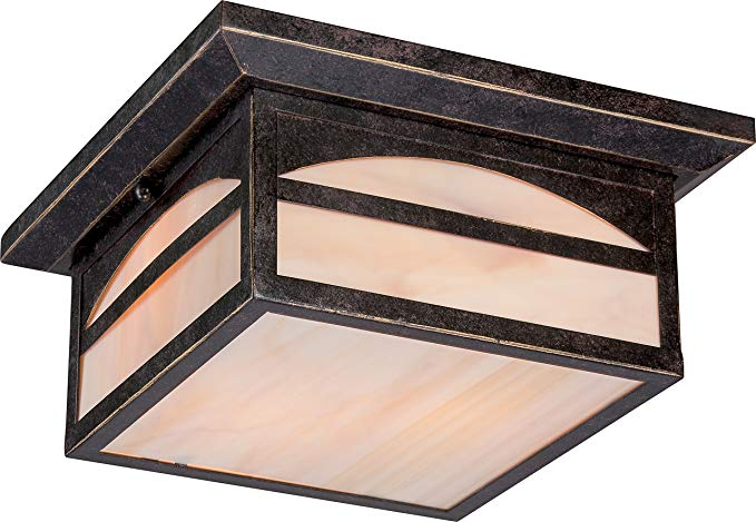 Nuvo Lighting 60/5656 Canyon Flush 2 Light 60-watt Outdoor Close To Ceiling Porch and Patio Lighting with Honey Stained Glass, Umber Bronze